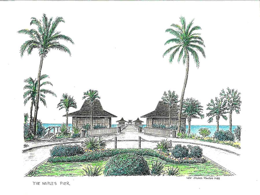 Naples Drawing - Entrance to The Naples Pier by Lee Pantas