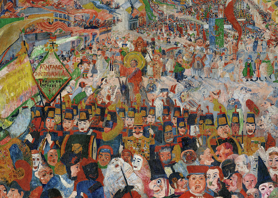 Entry of Christ into Brussels Painting by James Ensor