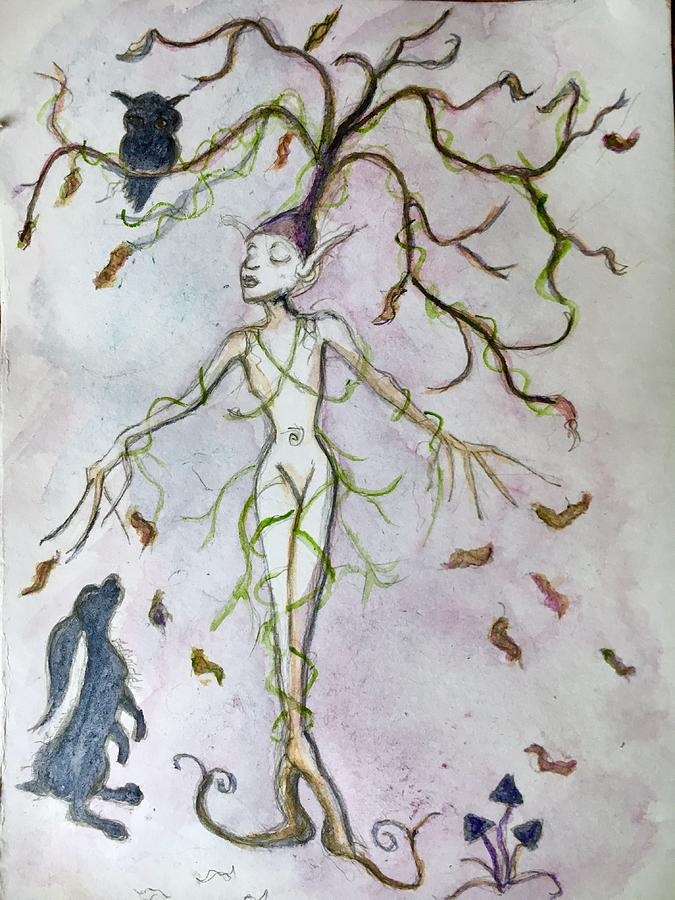 Watercolor Painting - Entwined in Fall  by Sharon May Nicol