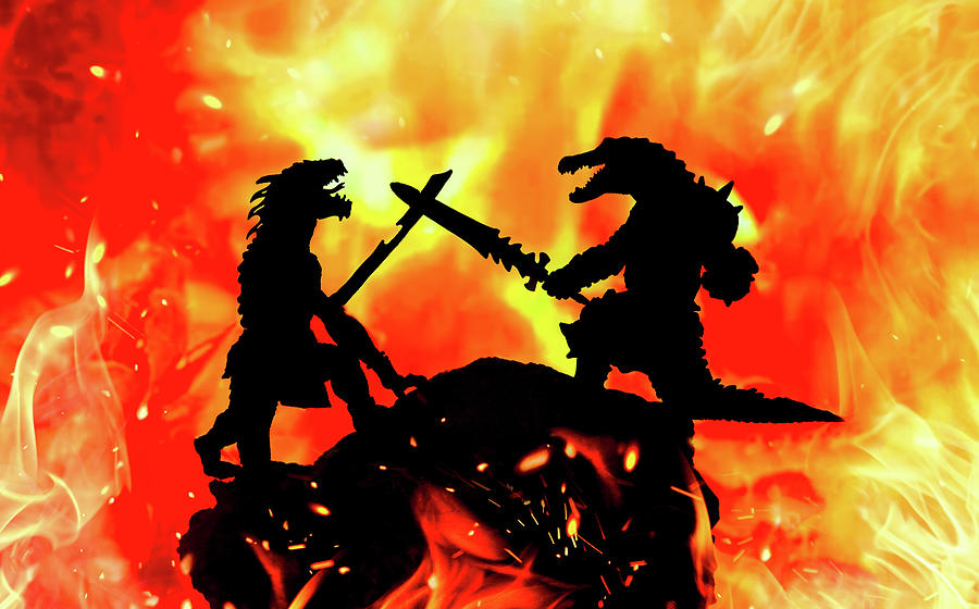 Epic Fantasy Dragon And Lizard Fight Photograph