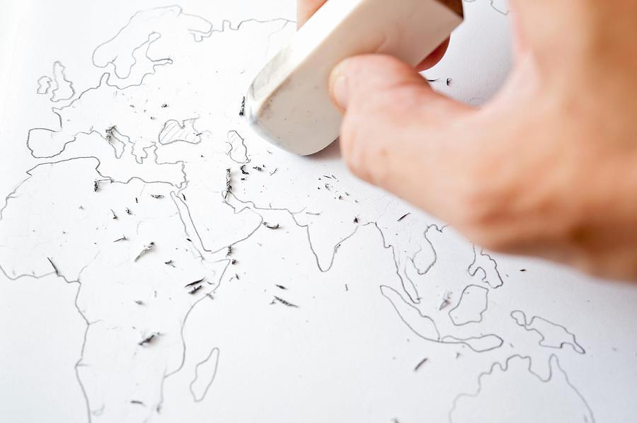 Erasing world maps border Photograph by Toshiro Shimada