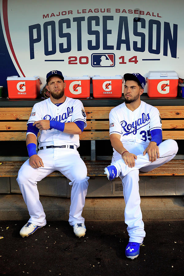 Eric Hosmer and Alex Gordon Photograph by Jamie Squire