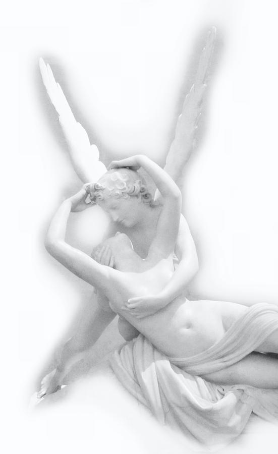 Eros and Psyche 2 - Louvre Sculpture - Blanc by Marianna Mills