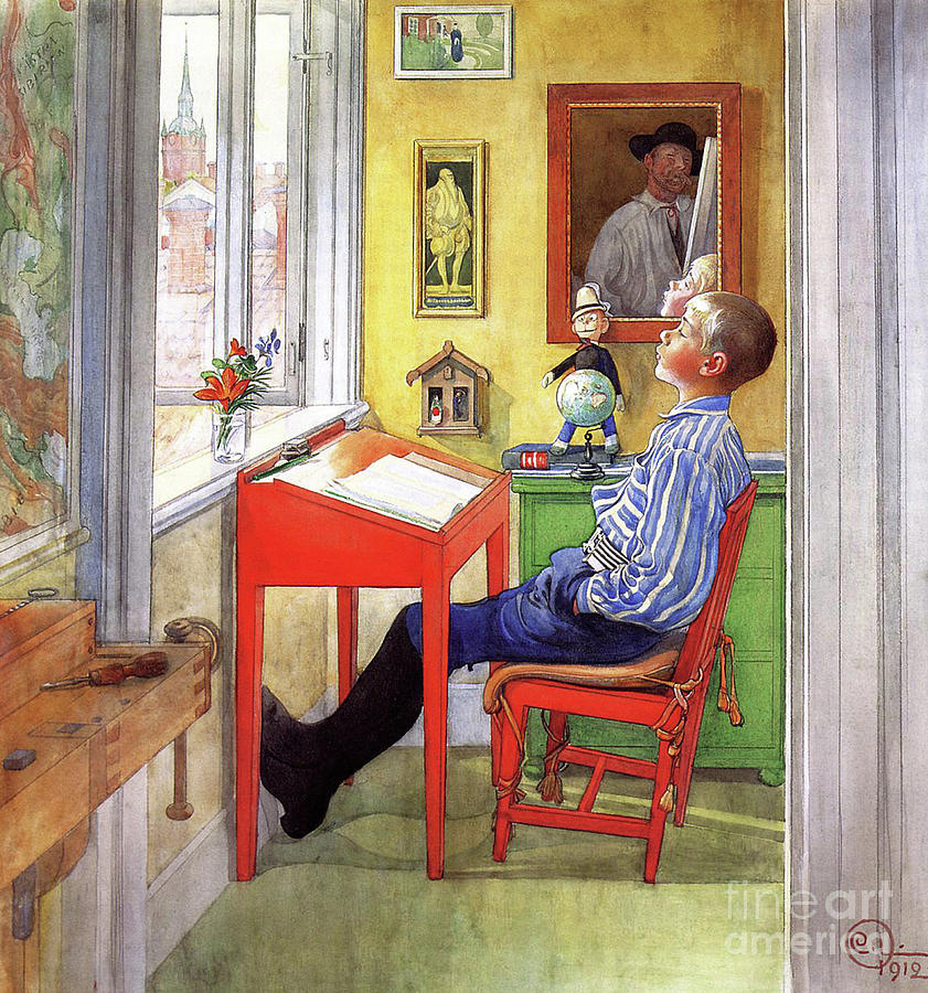 1912 Painting - Esbjorn Doing his Homework by Carl Larsson