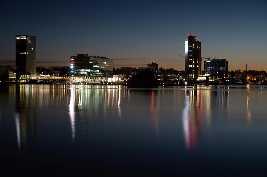Finland Photograph - Espoo nightly cityscape by Marko Hannula