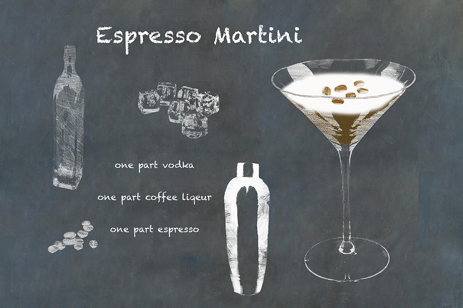 Espresso Martini Cocktail Sketched On Chalkboard Photograph