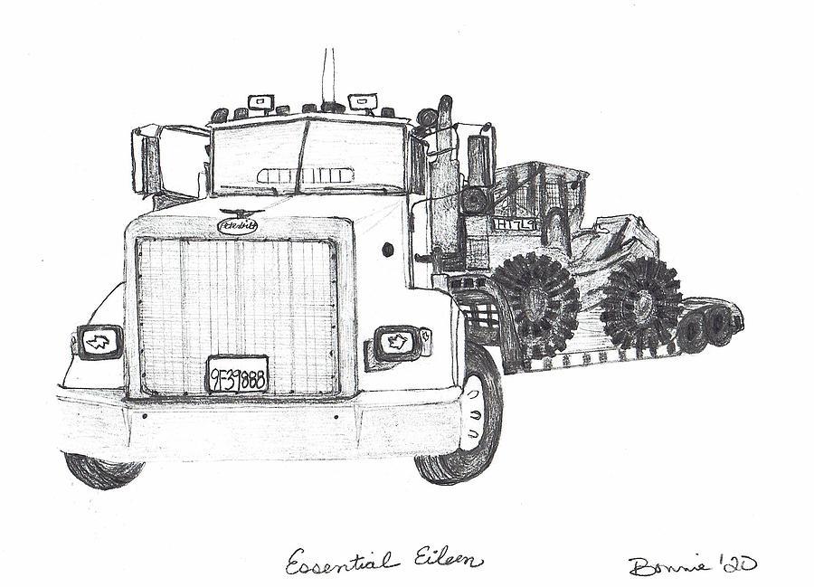 Semi Truck Drawing - Essential Eileen by Bonnie McKeegan