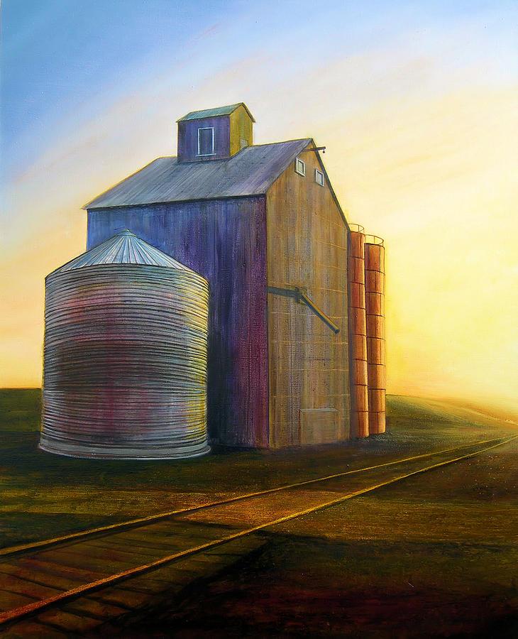 Silos Painting - Estes Road Twilight by Leonard Heid