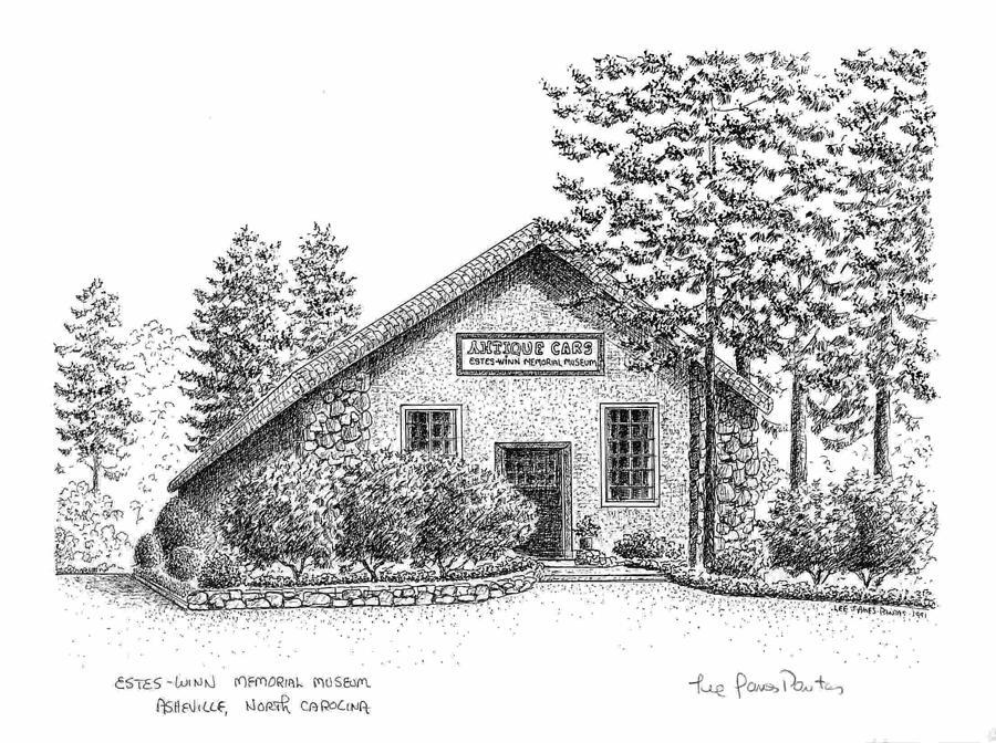 Asheville Drawing - Estes Winn Antique Car Museum by Lee Pantas