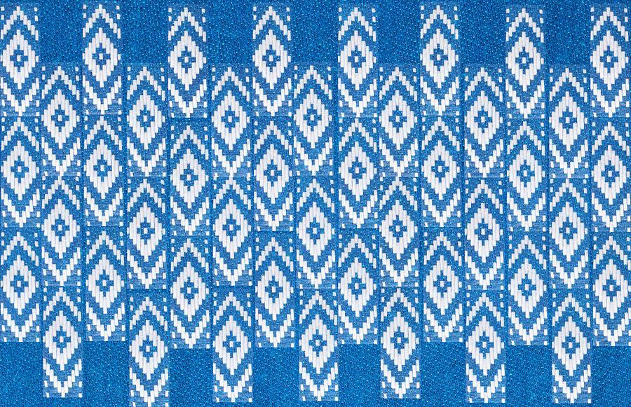 Ethnic Ornament On Natural Linen Textile Photograph