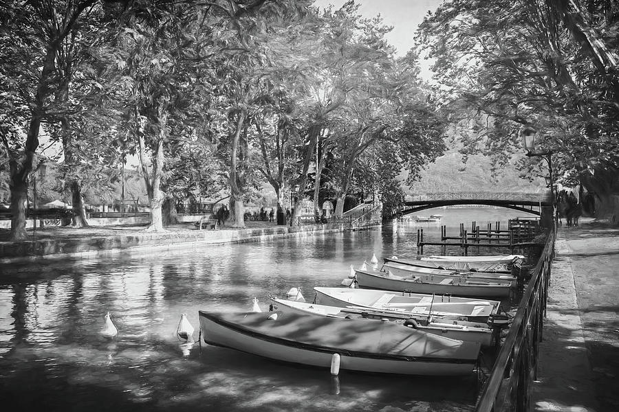 European Canal Scenes Annecy France Black And White Photograph