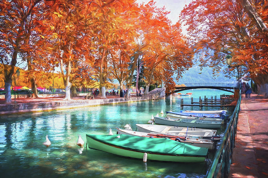 European Canal Scenes Annecy France Photograph