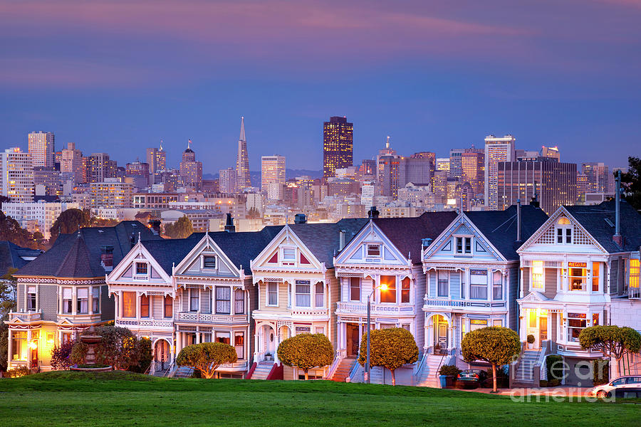 Evening At The Painted Ladies - San Francisco California Photograph