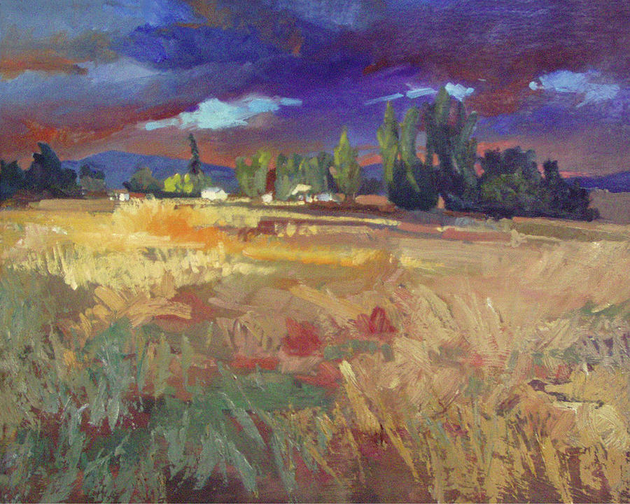 Warm Landscape Painting - Evening Autumn Fields by Betty Jean Billups