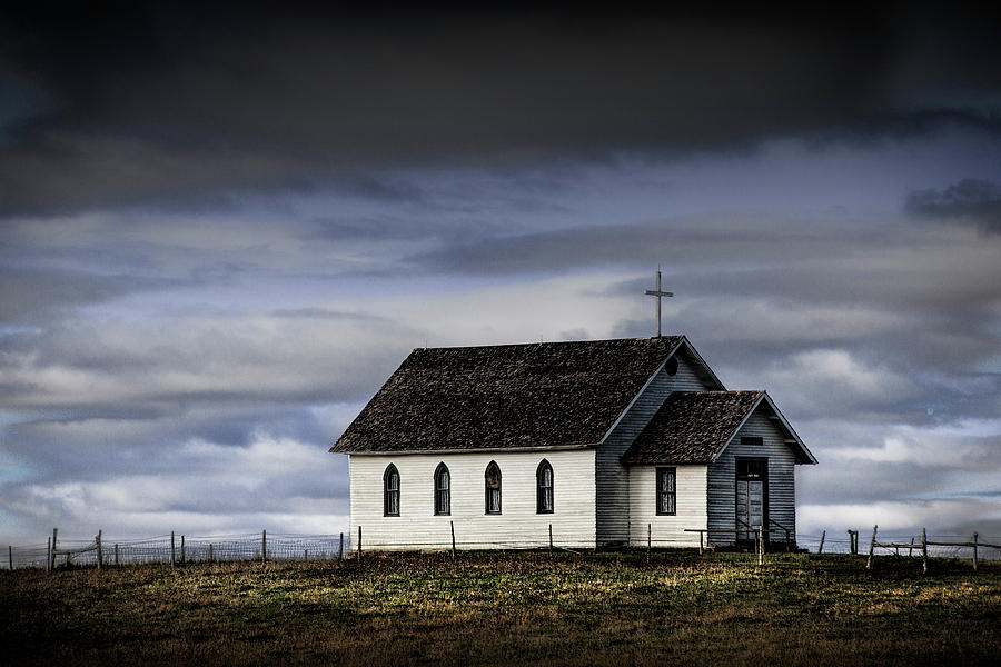 Evening Closes in on the Old Rural Country Church by Randall Nyhof