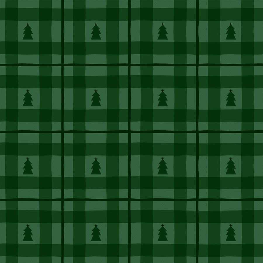 Green Painting - Evergreen Plaid Christmas Tree Pattern - Art by Jen Montgomery by Jen Montgomery