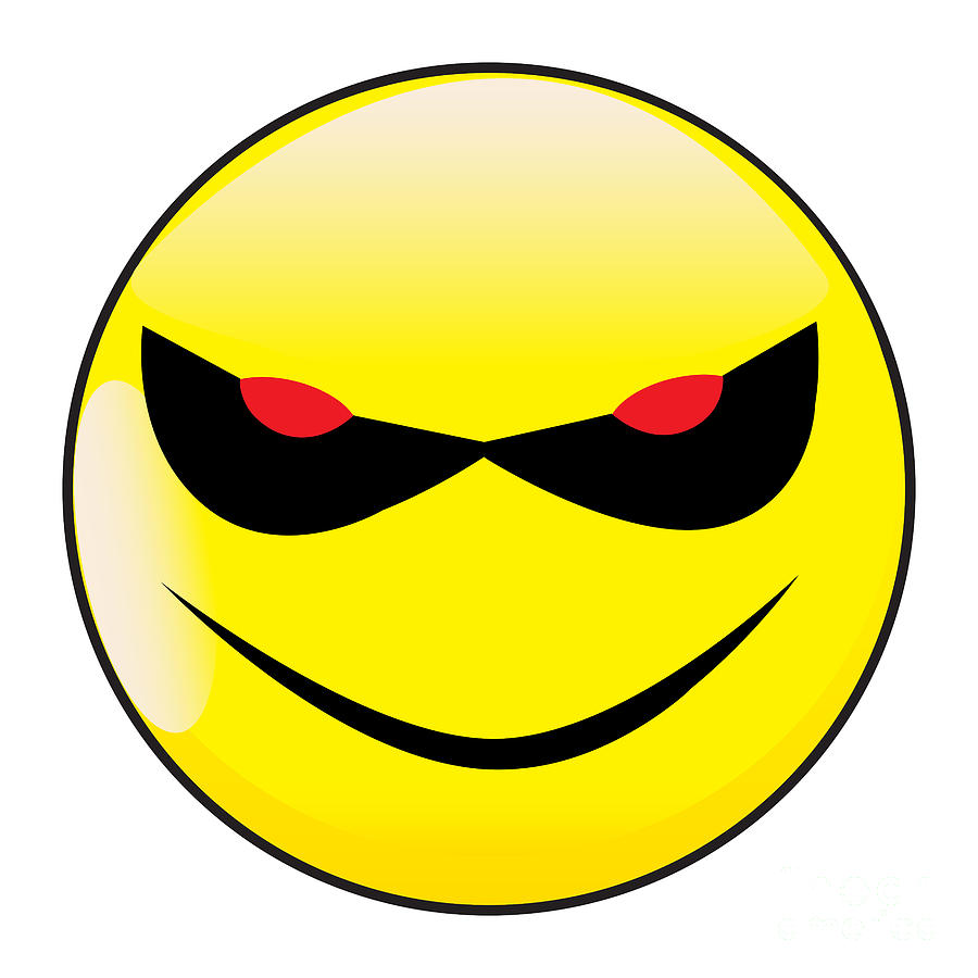Evil Smile Face Button Emoticon by Bigalbaloo Stock