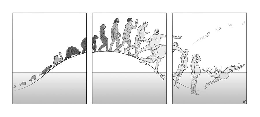 Evolution Of Man Drawing by Lila Ash