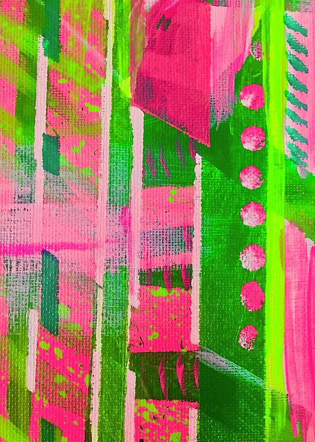 Pink Painting - Excited Pink Plaid by Sheila J Hall