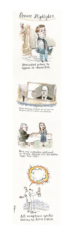 Exclusive Preview of the 2021 Academy Awards Painting by Barry Blitt