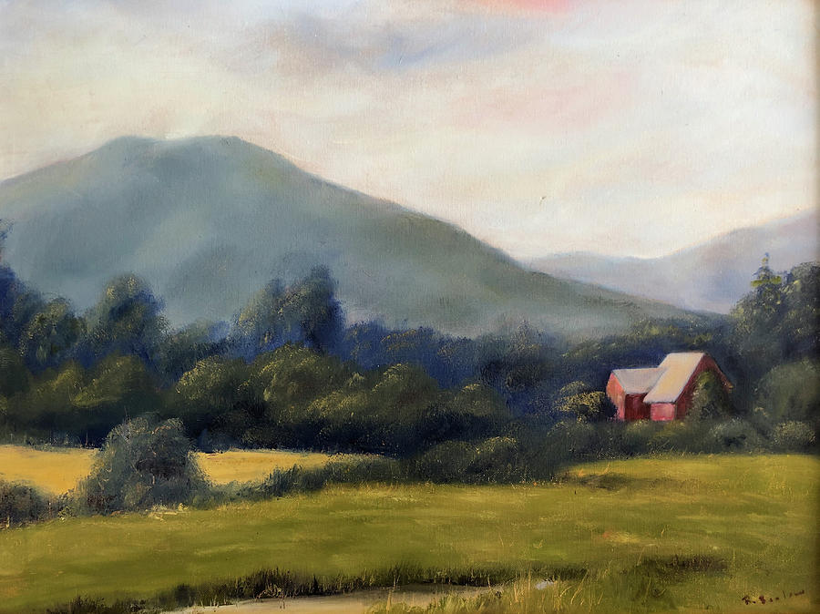 Farm Life Painting - Exit at IcePond Farm by Rachel Barlow