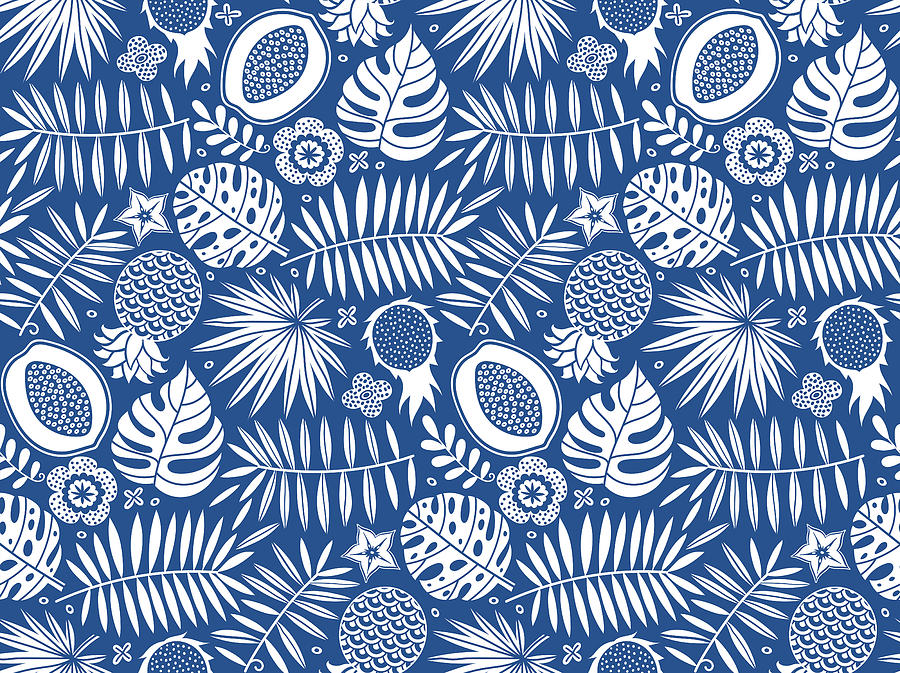 Exotic Pattern. Tropical Seamless Deep Blue And White Background. Drawing