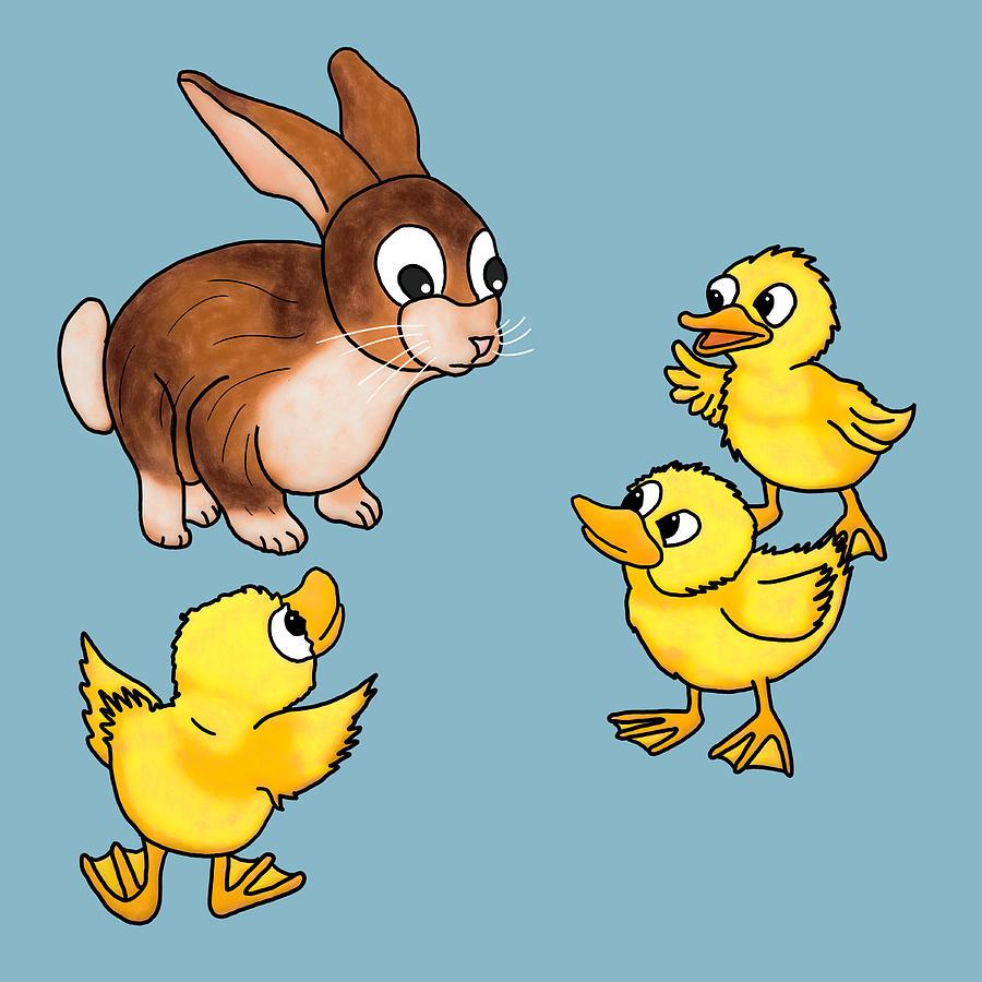 Duck Digital Art - Explaining Swimming to a Rabbit by John Haldane