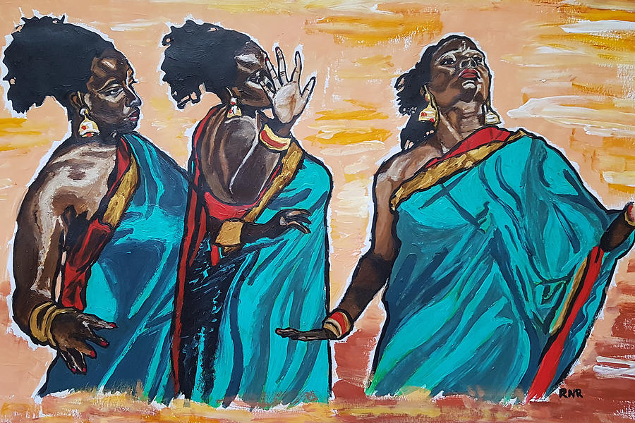 African Painting - Expression by Rachel Natalie Rawlins
