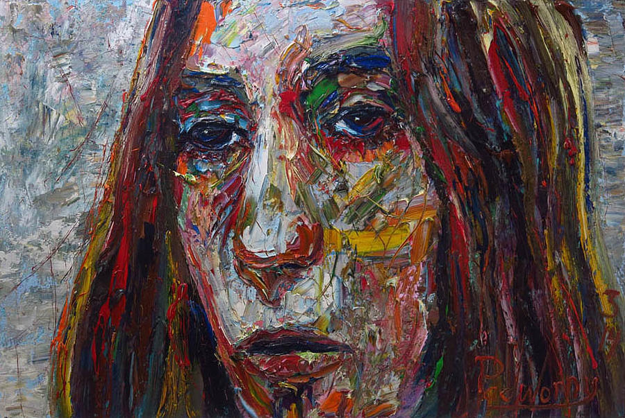 Expressionist Art Female Model Portrait Original Oil Painting On Canvas For Sale Abstract Art Ideas Painting By David Padworny