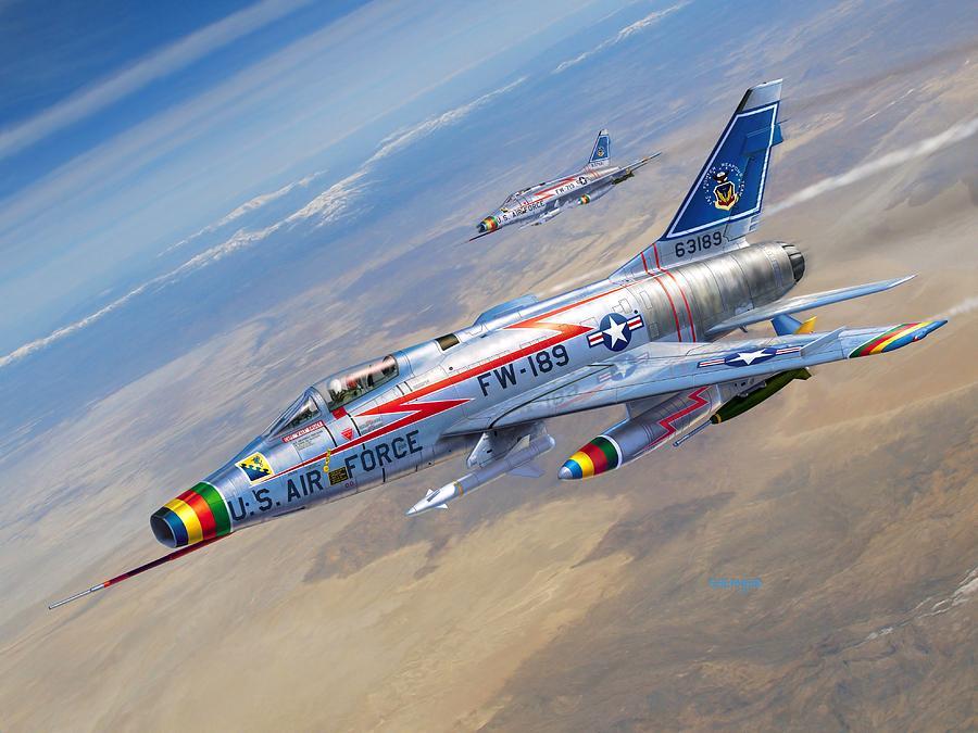 F-100 Digital Art - F-100D Sharpening the Sabre by Stu Shepherd