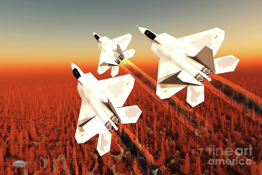 F-22 Fighter Jets Over Forest Digital Art