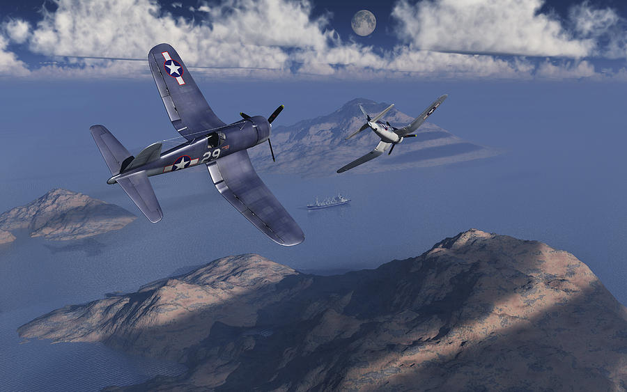 F4u Corsairs About To Attack A Japanese Cargo Ship During World War II. Drawing by Mark Stevenson/Stocktrek Images