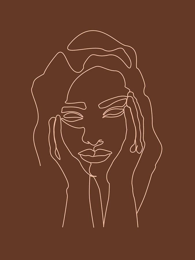 Face 05 - Abstract Minimal Line Art Portrait Of A Girl - Single Stroke Portrait - Terracotta, Brown Mixed Media