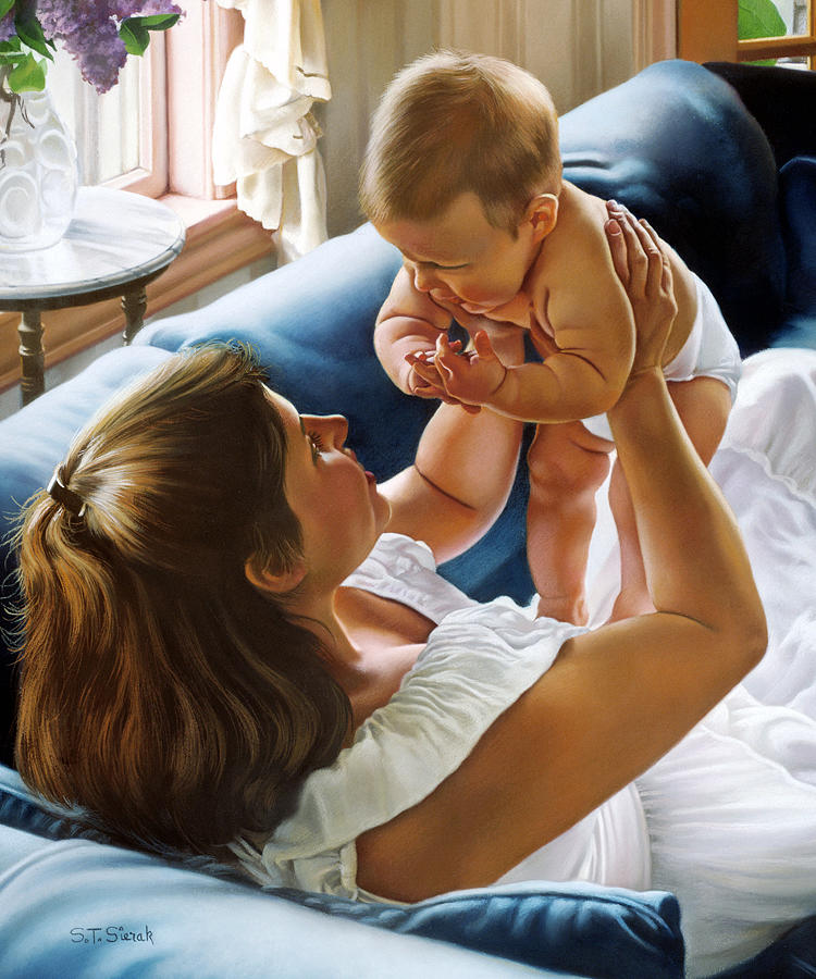 Mother Holding Baby Painting - Face To Face by Tom Sierak