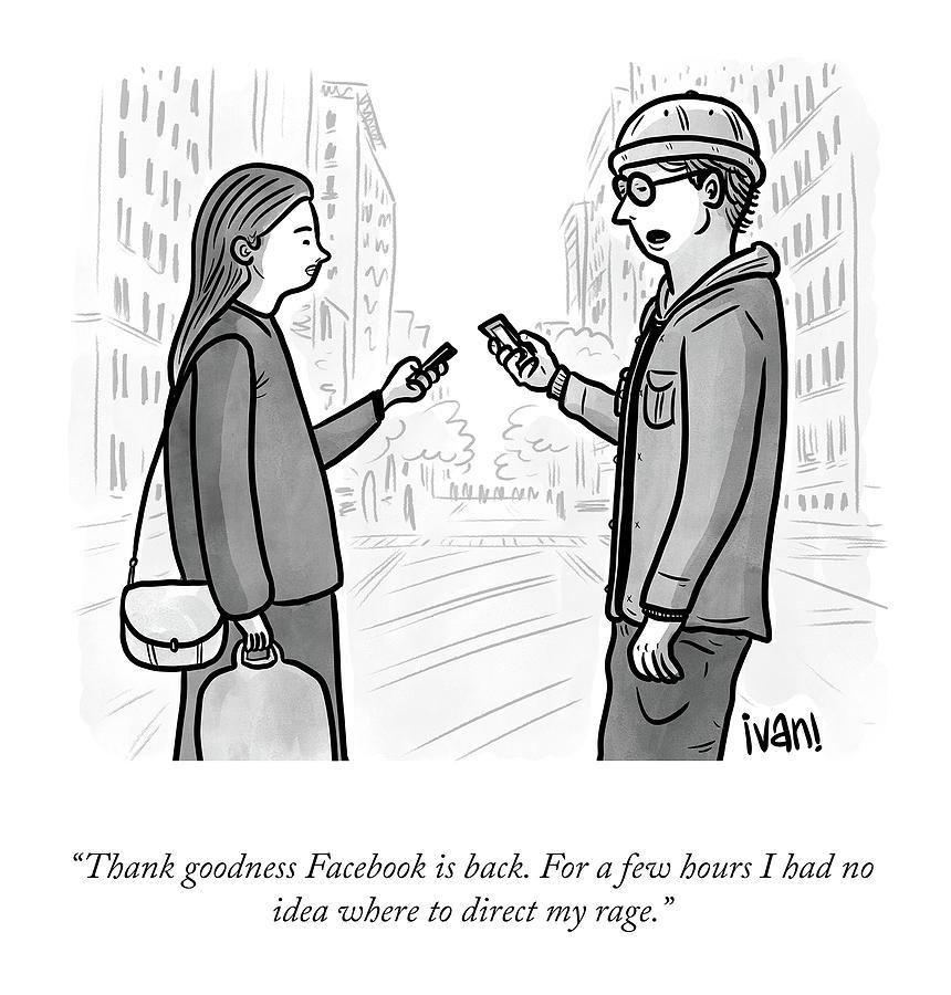 Facebook Is Back Drawing by Ivan Ehlers