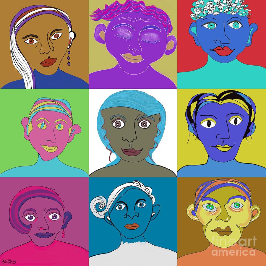 Faces In Colour Digital Art
