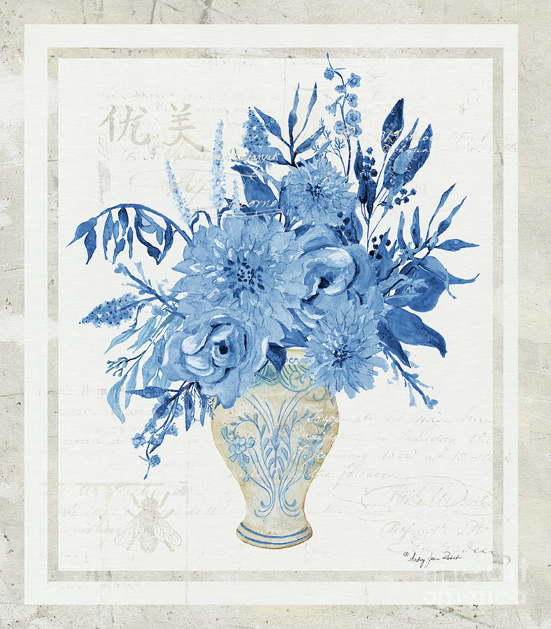 Faded Glory Chinoiserie - Floral Still Life 1 Blue, Taupe and Cream by Audrey Jeanne Roberts