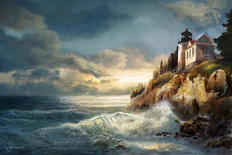 Fading Light, Bass Harbor Head Lighthouse Painting