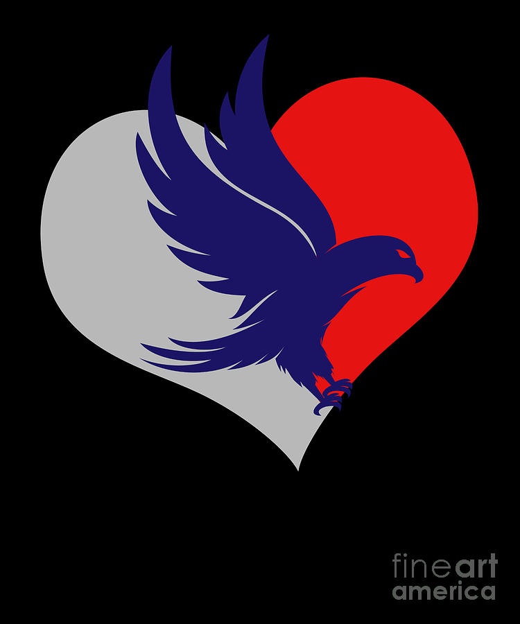 Logo Digital Art - Falcon Heart Bird Animal Lover Flying Pet Wings Gift by Thomas Larch