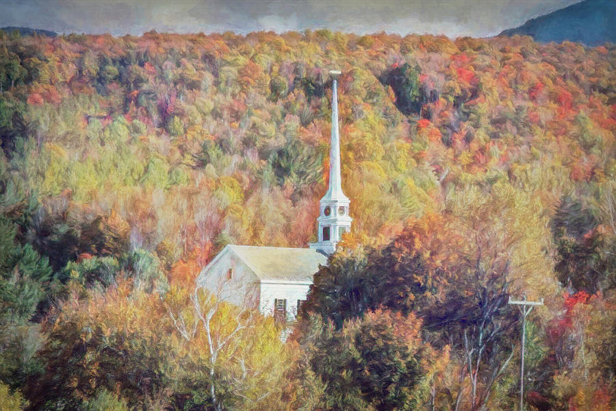 Fall Colors surround Vermont Church by Jeff Folger