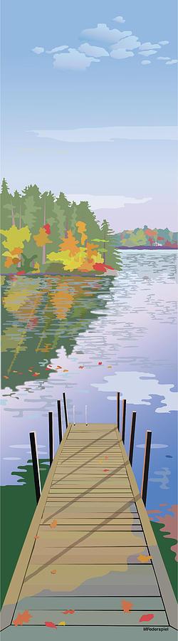 Lake Digital Art - Fall Dock by Marian Federspiel
