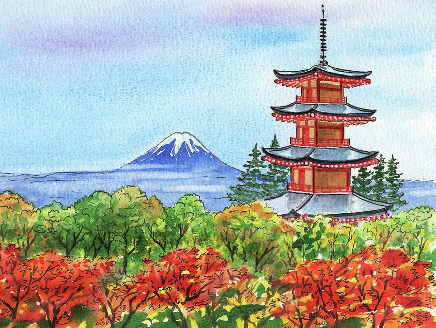 Fall In Japan Mountain Fuji And Chureito Pagoda Painting Painting
