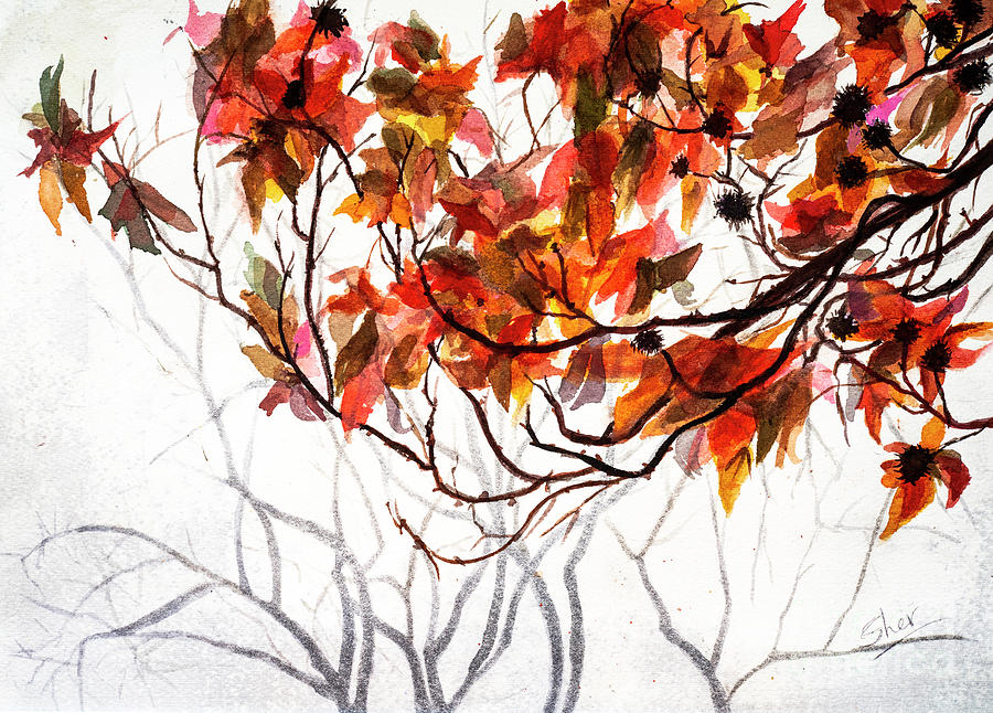 Fall Leaves - Watercolor Art by Sher Nasser