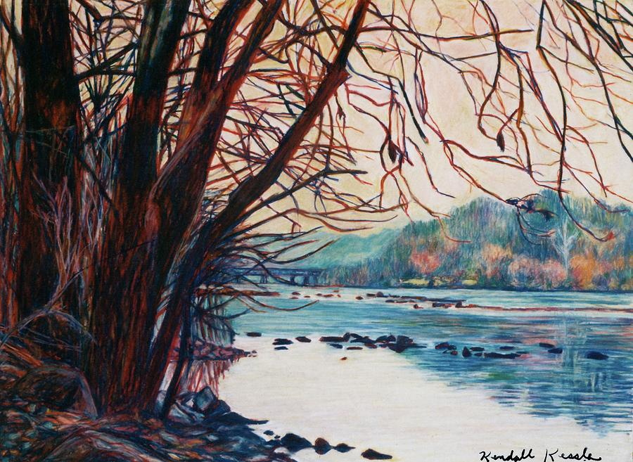 New River Pastel - Fall on the New River by Kendall Kessler