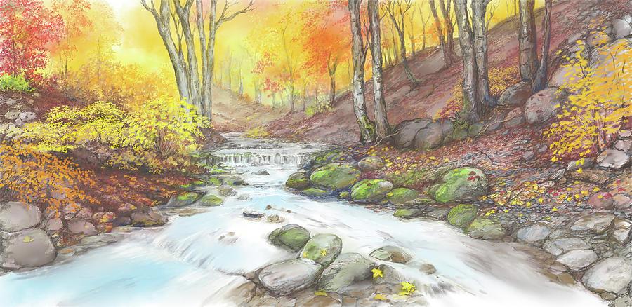 Fall Digital Art - Fall Streaming by Scott Stafstrom