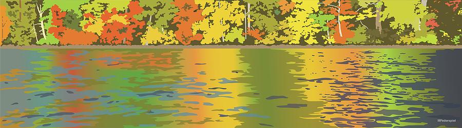 Autumn Digital Art - Fall Water Colors by Marian Federspiel