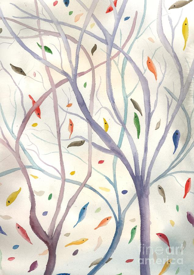 Falling Leaves Painting - Falling Leaves by L A Feldstein