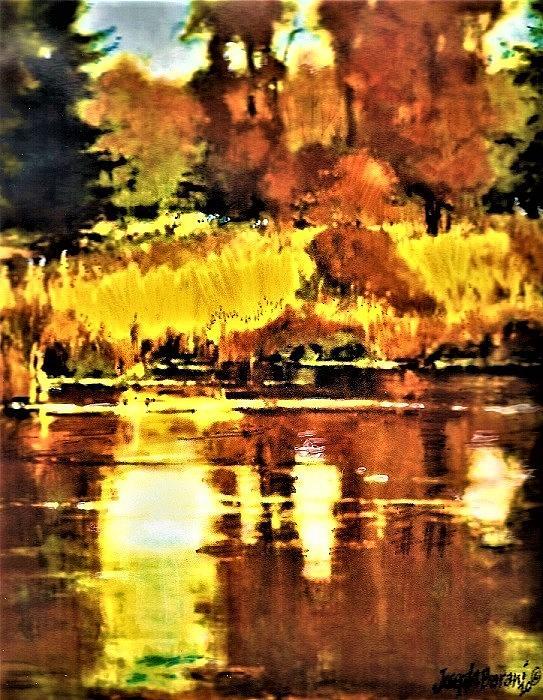 Falls Reflection Painting by Joseph Barani