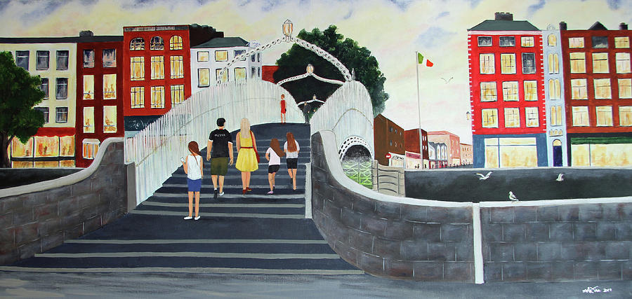 Family On The Halpenny Bridge Painting