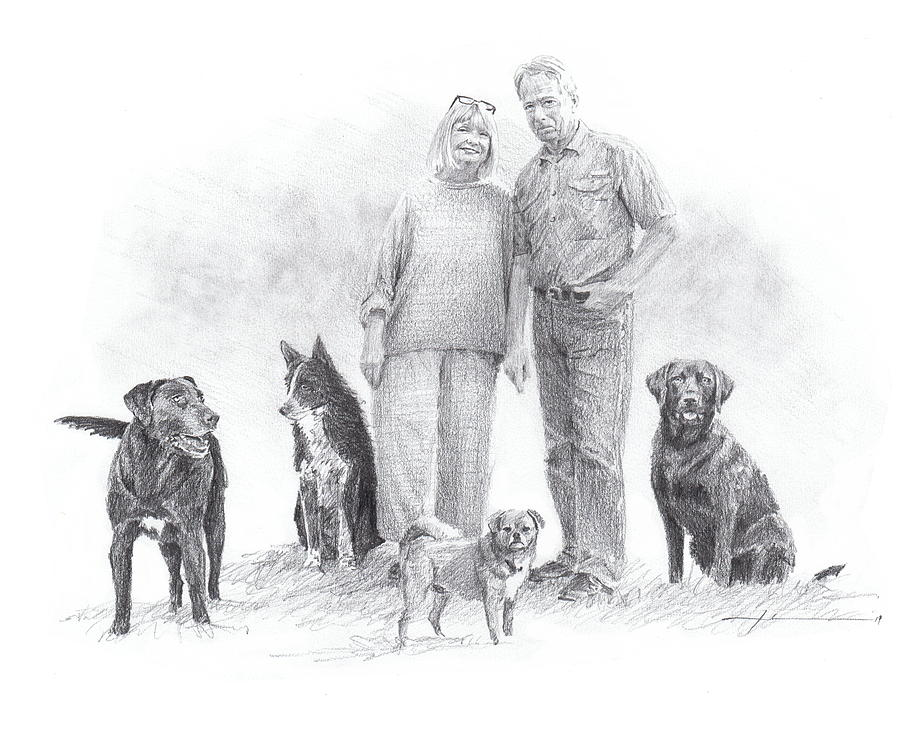 Family Parents And Dogs Drawing by Mike Theuer